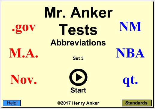 Mr  Anker Tests English Language Arts