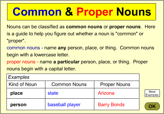 adjective and common noun proper Adjectives modify nouns remember that nouns are people, places, things, states, qualities, etc an adjective tells us what the noun is doing and helps to describe it.