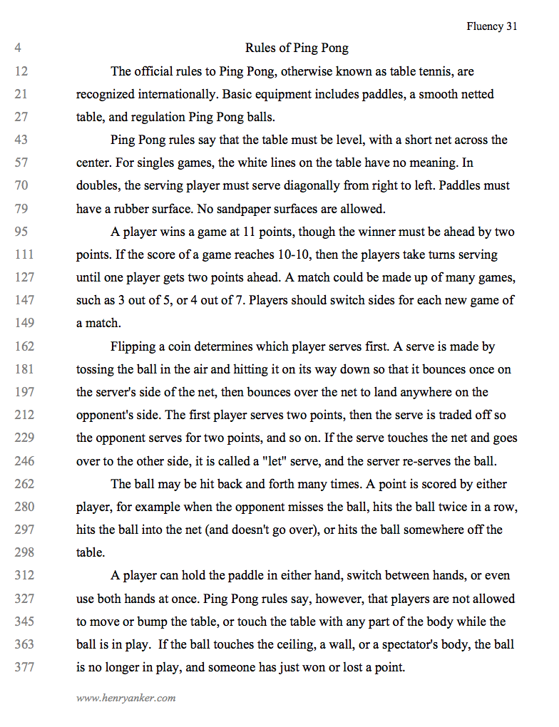 (31) Rules of Ping Pong