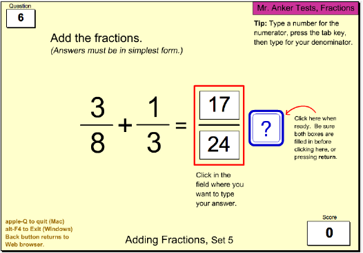 simplest form adding fractions  Mr. Anker Tests Fractions Activities