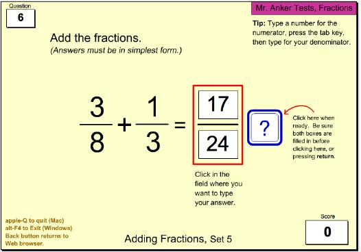 Mr. Anker Tests Fractions Activities