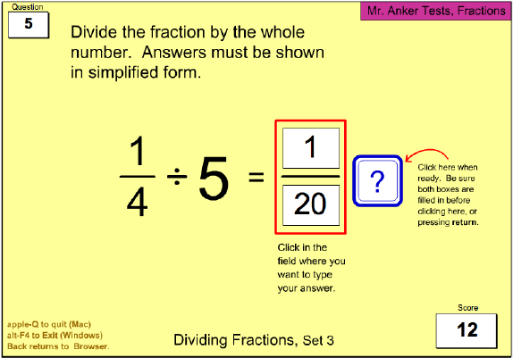 simplest form dividing fractions  Mr. Anker Tests Fractions Activities