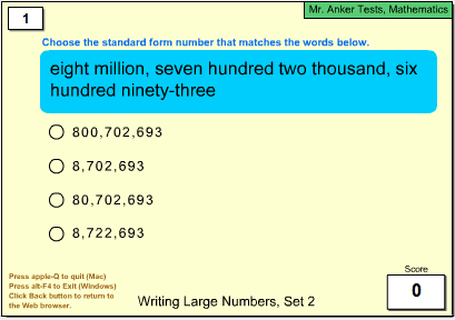 Mr. Anker Tests Number Sense